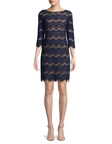 Eliza J Three-Quarter Sleeve Lace Sheath Dress-NAVY-8
