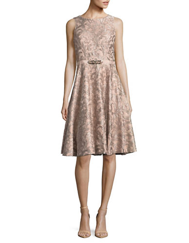 Eliza J Embellished Lace Circle-Hem Dress-PINK-4