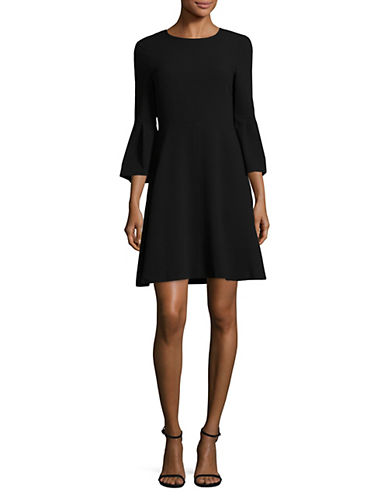 Eliza J Bell Sleeve Crepe Flare Dress-BLACK-6