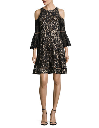 Eliza J Bell Sleeve Fit and Flare Lace  Dress-BLACK-12