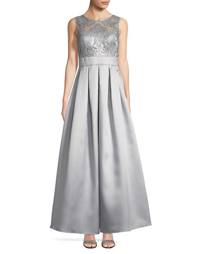 Eliza J Sleeveless Lace Floor-Length Gown-SILVER-12