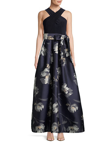 Eliza J Crisscross Floral Ball Gown-NAVY-12