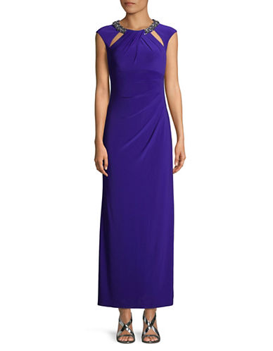 Eliza J Cut-out Beaded Column Gown-COBALT-6