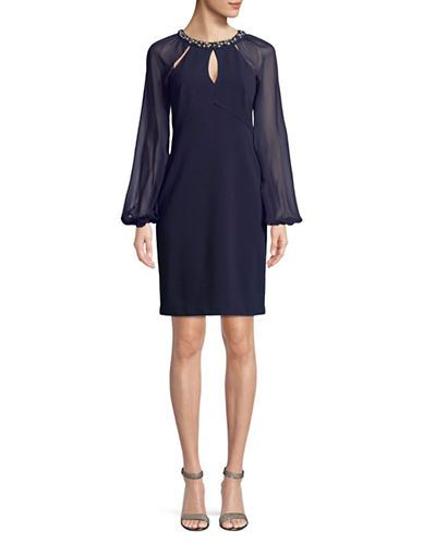 Eliza J Beaded Scuba Dress-NAVY-4