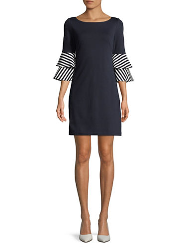 Eliza J Layered Bell Sleeve Dress-NAVY-2