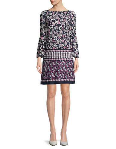 Eliza J Mixed Print Bell Sleeve Dress-NAVY/PINK-4