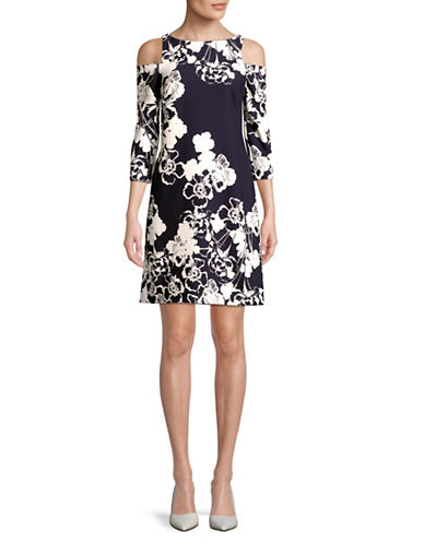 Eliza J Long Sleeve Cold Shoulder Floral Print Dress-NAVY-14