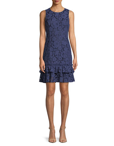Eliza J Sleeveless Flounce Hem Dress-NAVY-12