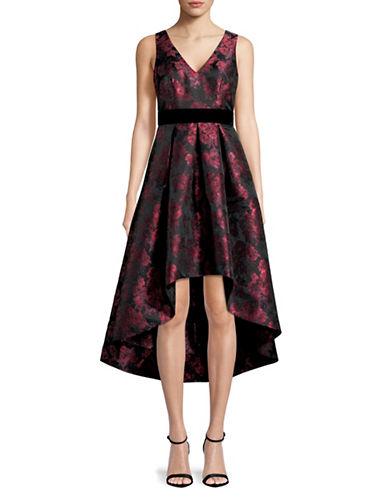 Eliza J High-Low V-Neck Dress-BURGUNDY-10