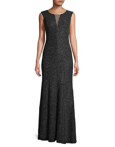 Eliza J Mesh V-Neck Full-Length Gown-BLACK-8