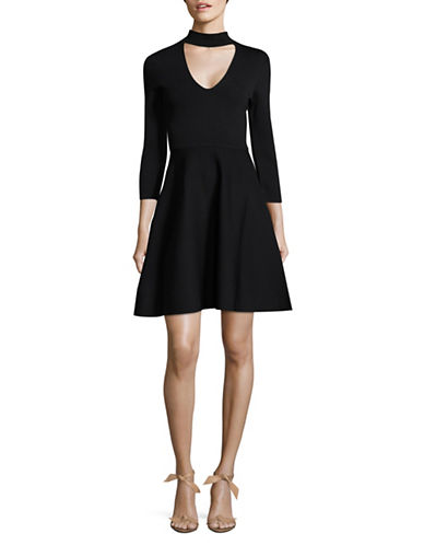 Eliza J Cut-Out Fit-and-Flare Choker Dress-BLACK-Large