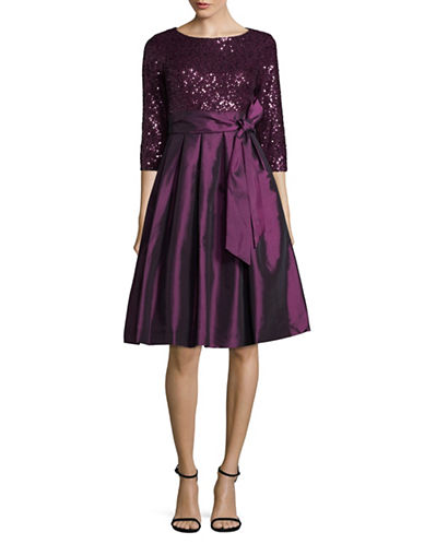 Eliza J Sequined Lace A-Line Dress-PURPLE-4