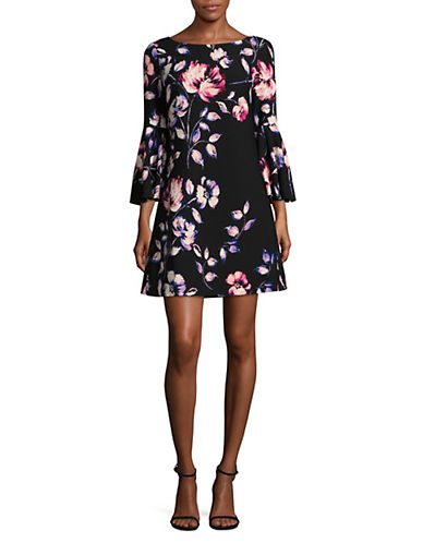 Eliza J Lace Bell-Sleeve Shift Dress-BLACK MULTI-2