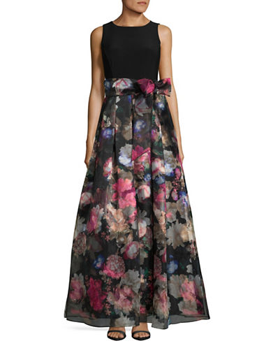 Eliza J Sleeveless Organza Gown-BLACK-14