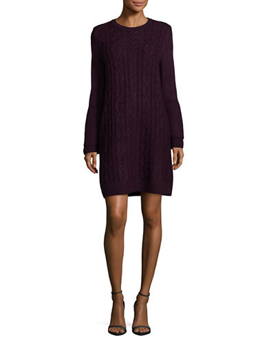 Eliza J Cable-Knit Sweater Dress-PURPLE-Small