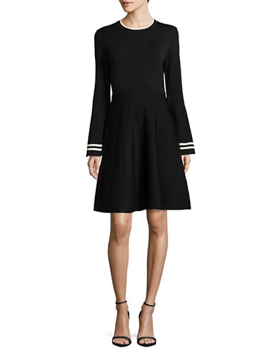 Eliza J Bell-Sleeve Fit-And-Flare Dress-BLACK-Medium