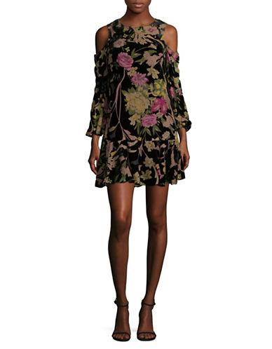 Eliza J Velvet Floral Cold Shoulder Dress-PURPLE MULTI-6