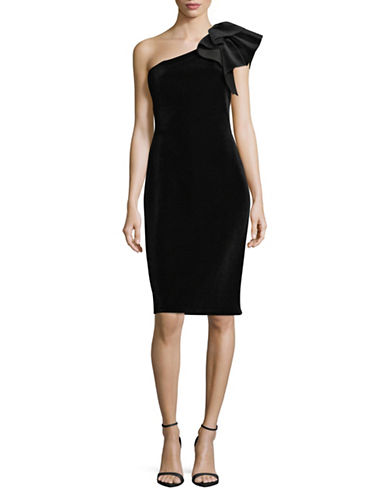 Eliza J One Shoulder Velvet Sheath Dress-BLACK-14