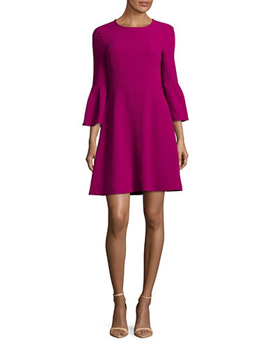 Eliza J Bell Sleeve Crepe Flare Dress-PINK-14