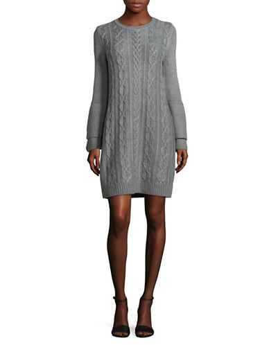 Eliza J Cable-Knit Sweater Dress-GREY-Medium