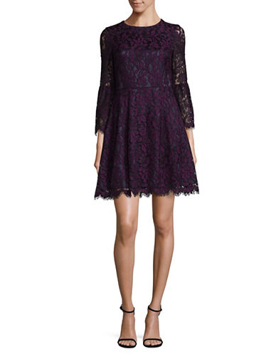 Eliza J Lace Fit-And-Flare Dress-PURPLE-10