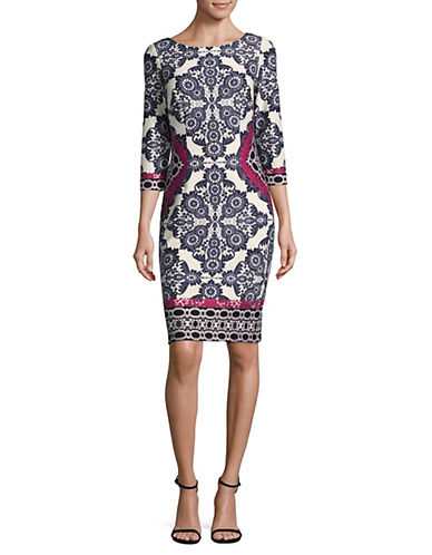 Eliza J Three-Quarter Sleeve Sheath Dress-WHITE MULTI-14