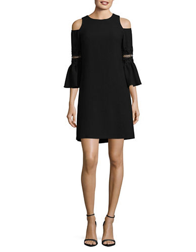 Eliza J Cold-Shoulder A-Line Dress-BLACK-8