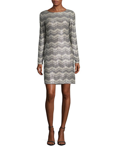Eliza J Long Sleeve Chevron Sheath Dress-GREY-2