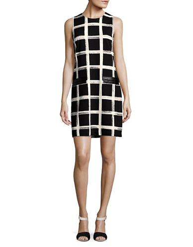 Eliza J Windowpane Check Shift Dress-BLACK/IVORY-6