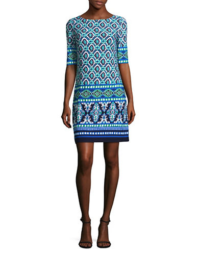 Eliza J Printed Shift Dress-BLUE-6