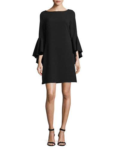 Eliza J Bell-Sleeve Sheath Dress-BLACK-8