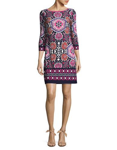 Eliza J Printed Three-Quarter Shift Dress-BLUE-4