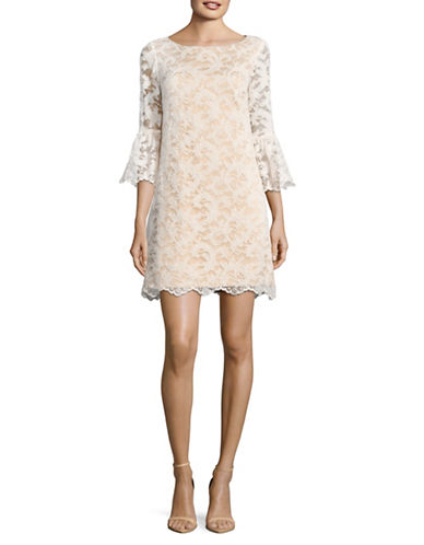 Eliza J Lace Bell-Sleeve Shift Dress-WHITE-8