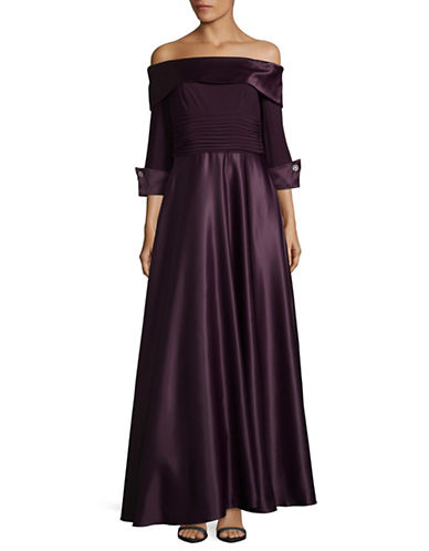 Eliza J Off-the-Shoulder Ruche Waist Gown-PURPLE-4