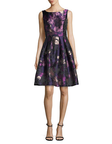 Eliza J Floral Cocktail Fit-and-Flare Dress-PURPLE MULTI-10