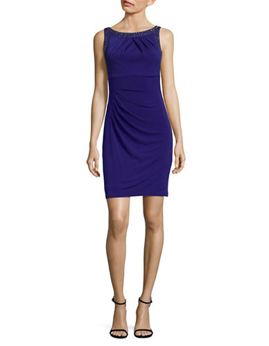 Eliza J Embellished Sheath Dress with Pleats-BLUE-12