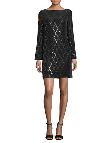 Eliza J Metallic Bell-Sleeve Shift Dress-BLACK-16