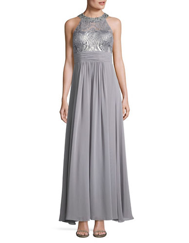 Eliza J Beaded Lace and Chiffon A-Line Dress-SILVER-4