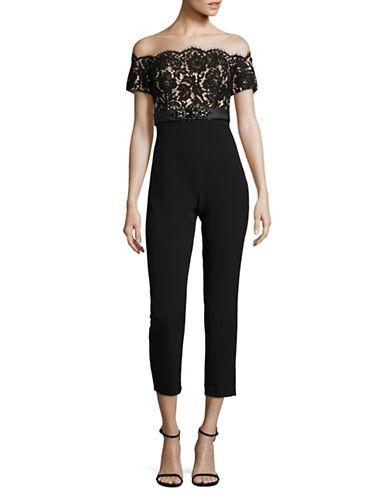 Eliza J Off-the-Shoulder Lace Jumpsuit-BLACK/NUDE-12