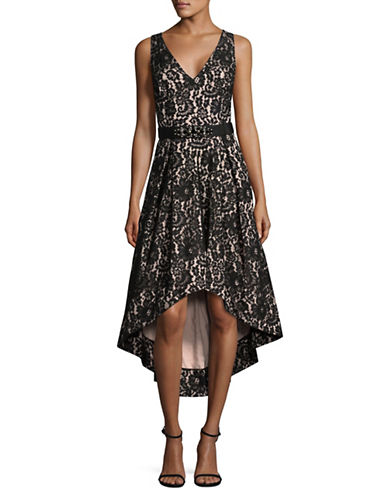 Eliza J Floral Pattern Lace Hi-lo Gown-BLACK/BLUSH-4