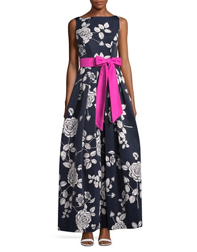 Eliza J Contrast Sash Floral Ball Gown-NAVY/IVORY-6
