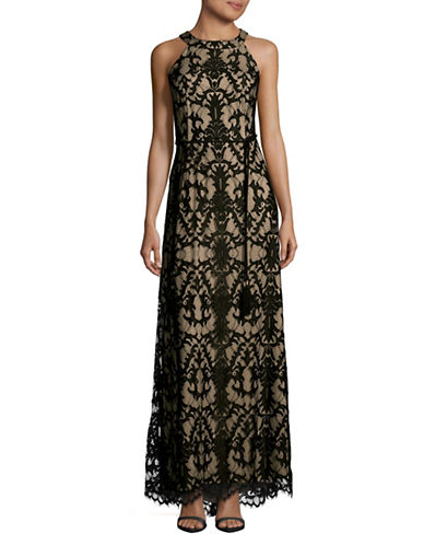 Eliza J Sleeveless Lace Sequin Dress with Belt-NAVY/NUDE-14