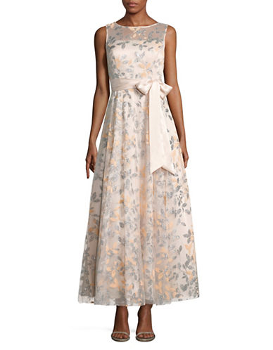 Eliza J Embellished Leaf Illusion Gown-BLUSH-12
