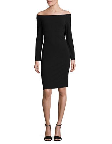 Eliza J Off-the-Shoulder Sheath Dress-BLACK-10