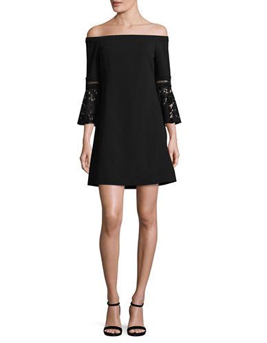 Eliza J Off-Shoulder Bell Sleeve Dress-BLACK-6