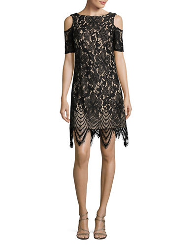 Eliza J Cold-Shoulder Lace Sheath Dress-BLACK/NUDE-14