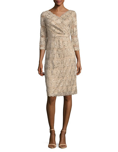 Eliza J Sequin Lace Sheath Dress-BEIGE-14