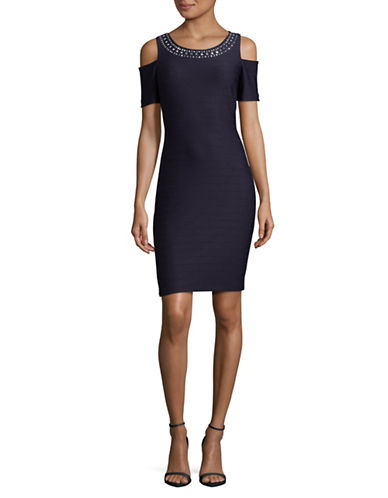 Eliza J Cold-Shoulder Sheath Dress-BLUE-10