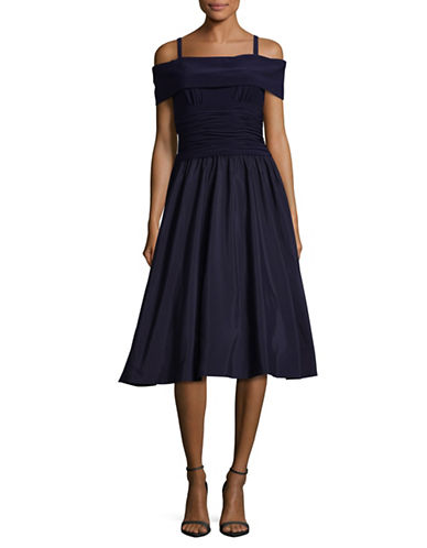 Eliza J Off-The-Shoulder Fit-and-Flare Dress-BLUE-12