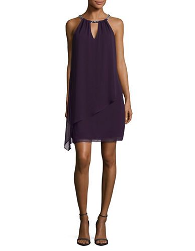 Eliza J Chiffon Overlay Shift Dress-WINE-14